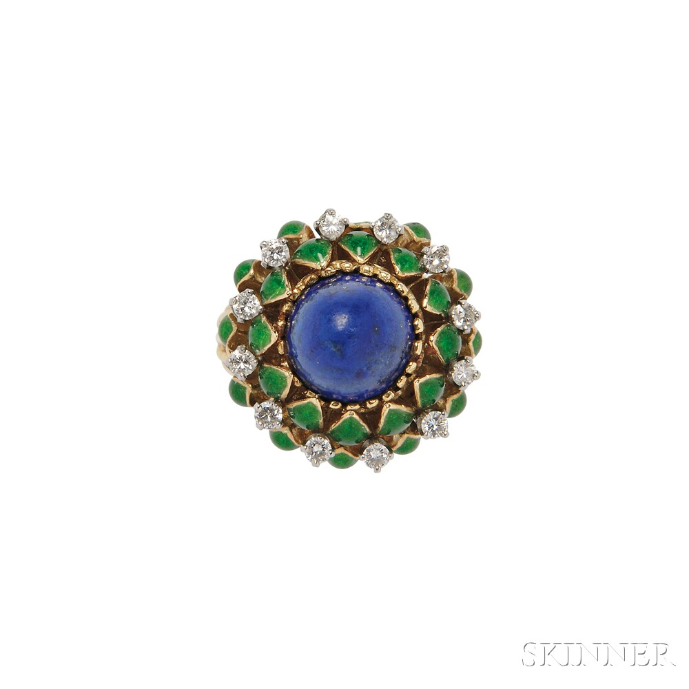 18kt Gold, Turquoise, and Diamond Ring, La Triomphe