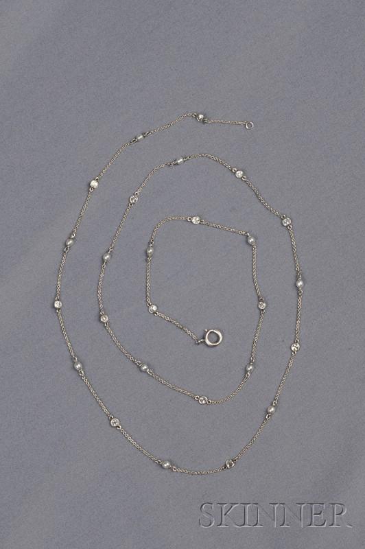 Edwardian Platinum, Seed Pearl, and Diamond Chain