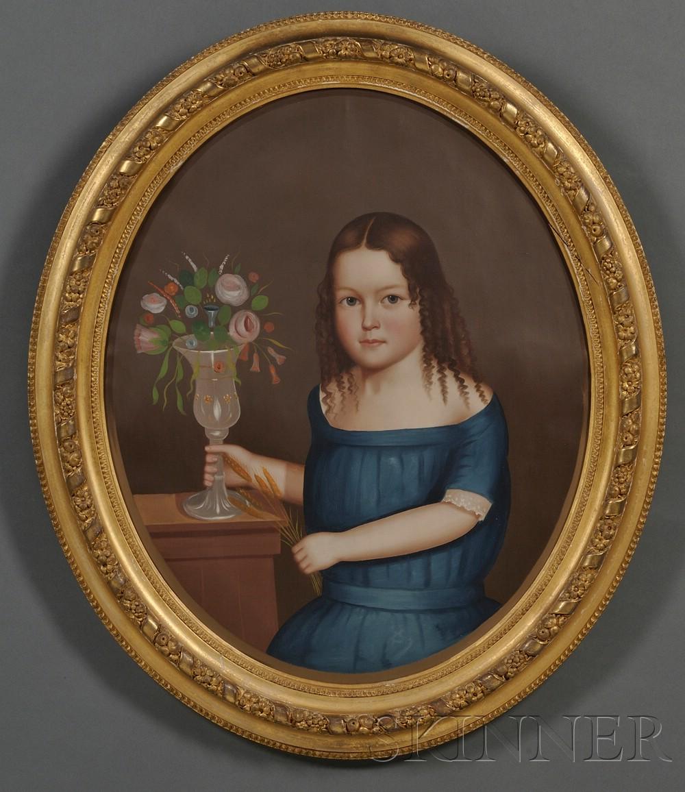 Horace Bundy (American, 1814-1883)      Portrait of Young Ellen Fairbank of Winchendon, Massachusetts.