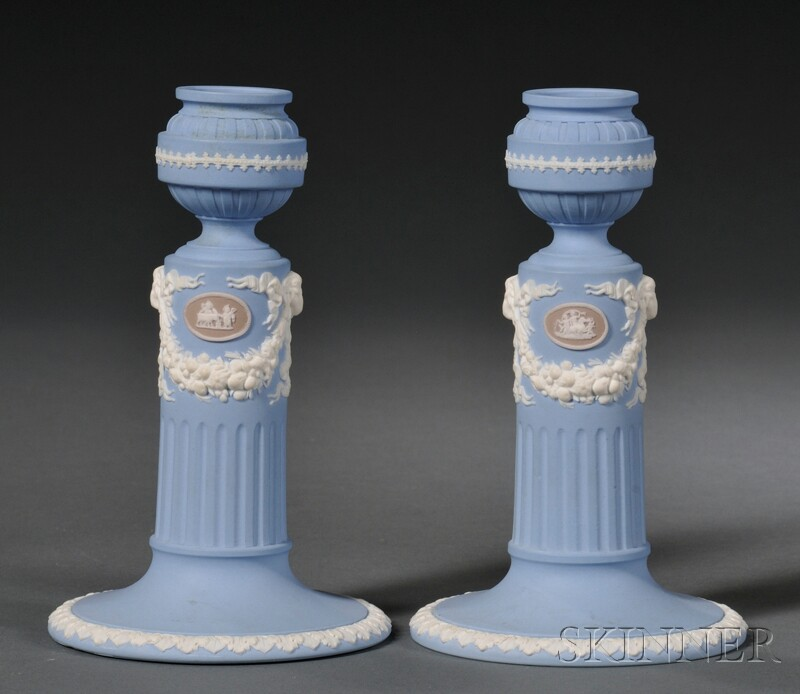 Pair of Wedgwood Three-color Solid Jasper Candlesticks