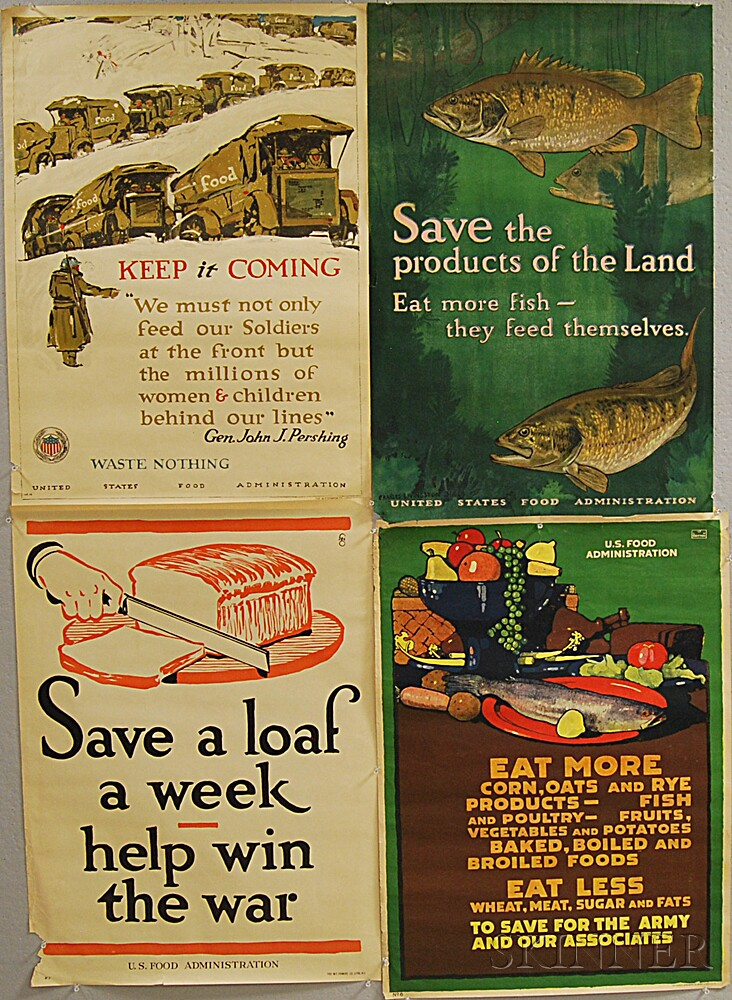 Four Rations-related WWI Lithograph Posters