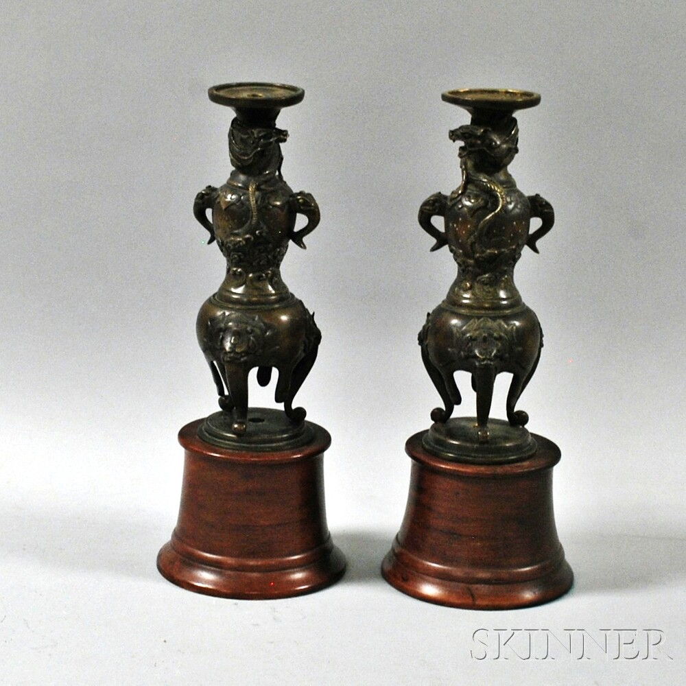 Pair of Bronze Candleholders