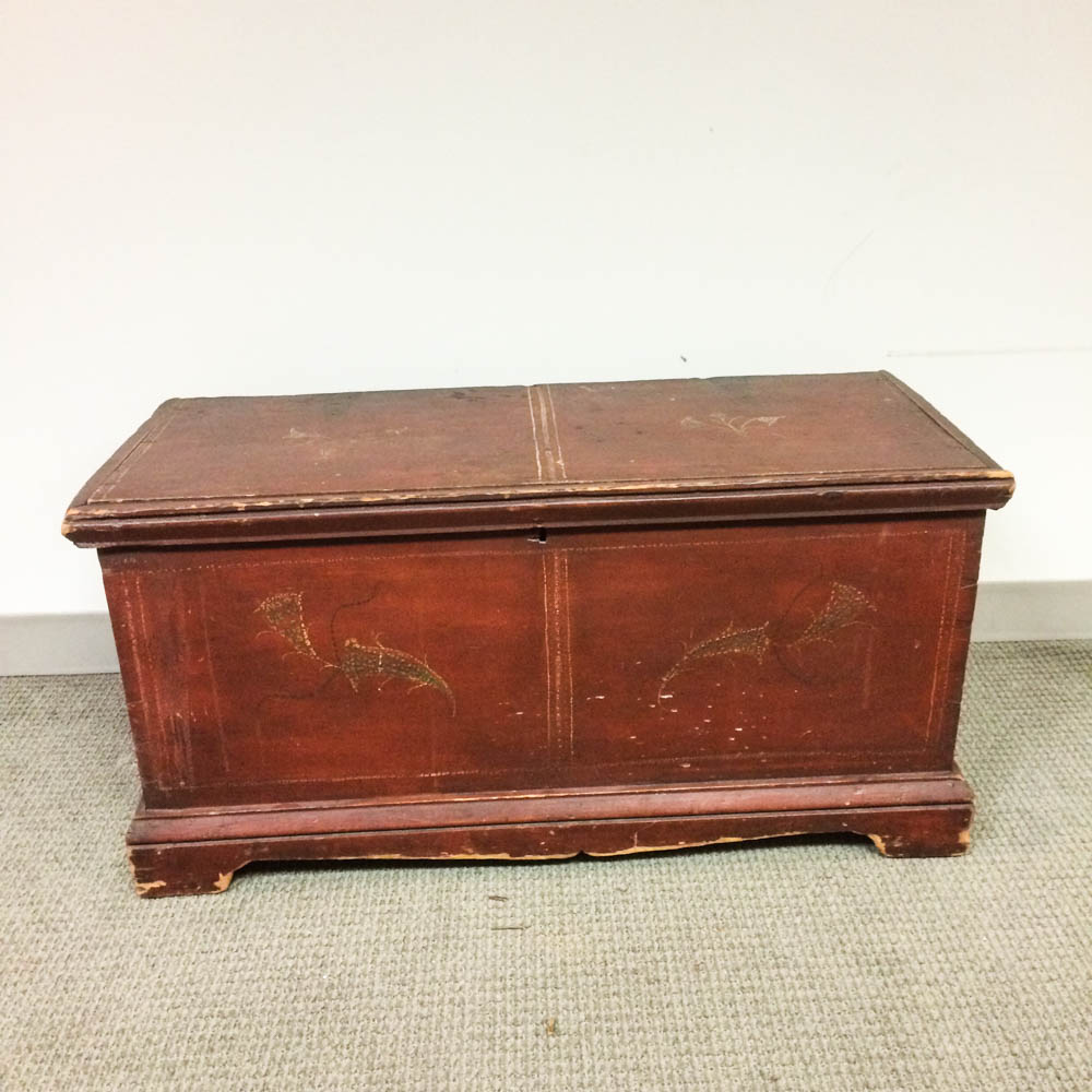 Red-painted Pine Blanket Chest