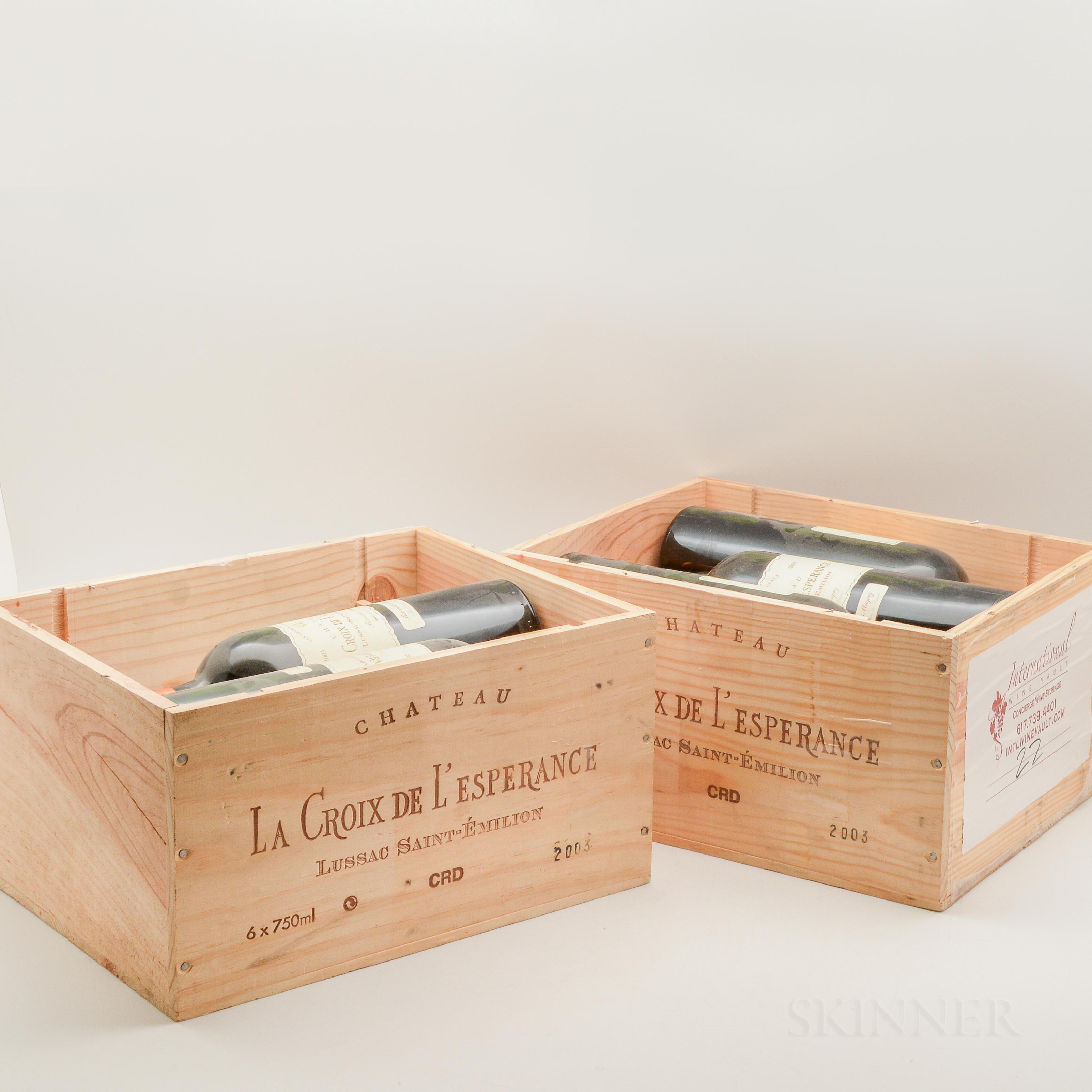 Chateau La Croix de LEsperance 2003, 11 bottles (2 x owc without lids)