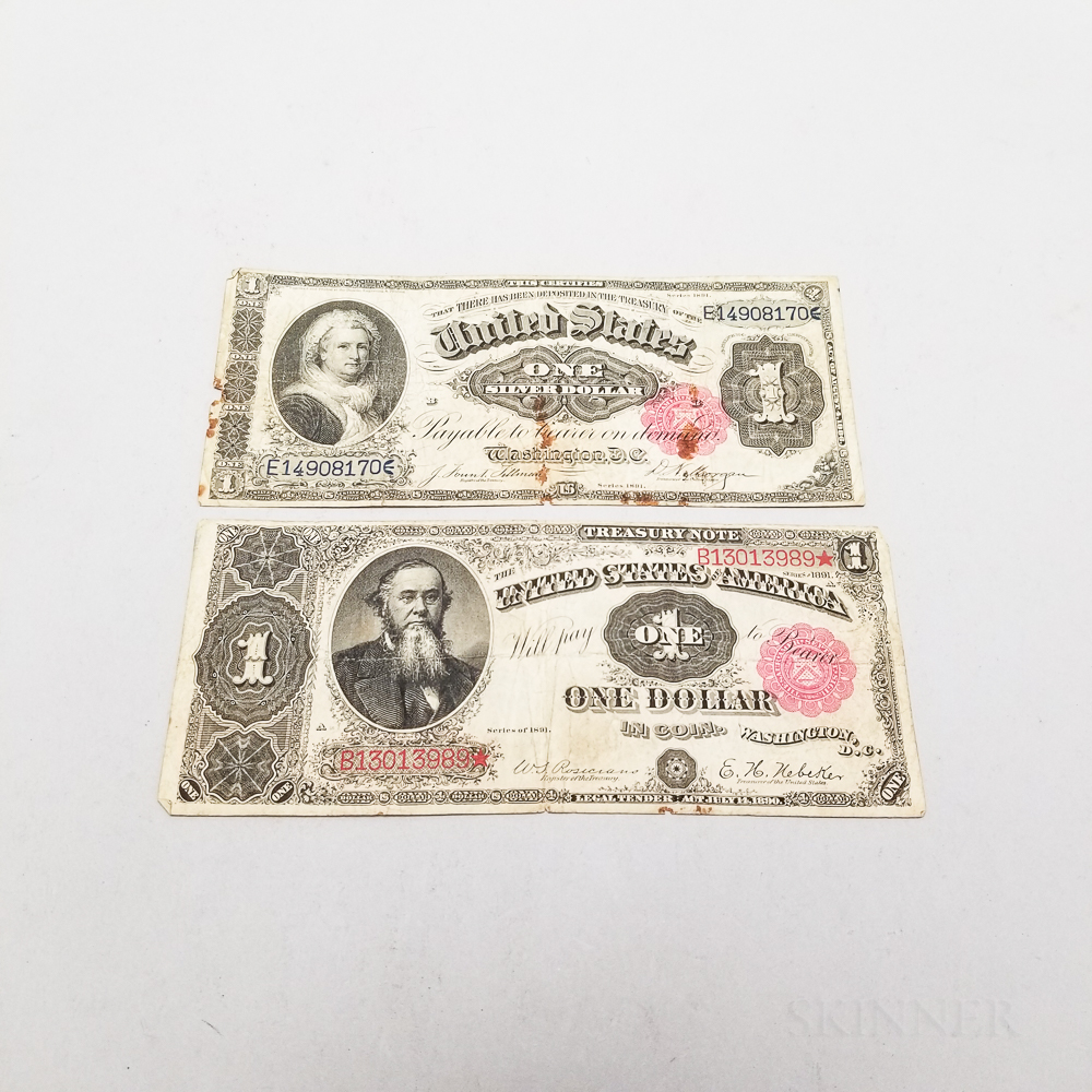 1891 $1 Treasury and Silver Certificate