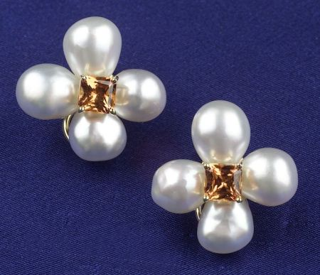 18kt Gold, South Sea Pearl and Citrine Earclips, Donna Vock
