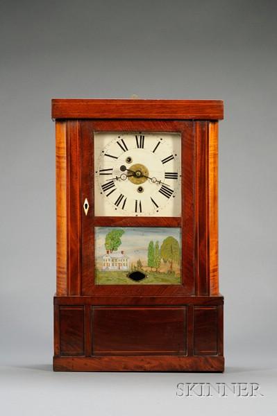 Mahogany Empire Shelf Clock by Sylvester Clarke