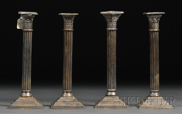 Set of Four Mauser Weighted Sterling Candlesticks
