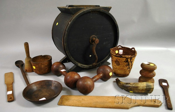 Blue-painted Wood Countertop Drum Churn, Nine Assorted Wood Articles, a Powder   Horn, and an Indian Woven Basket