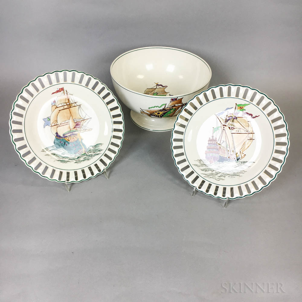 Wedgwood Enameled Queensware Bowl and Two Plates