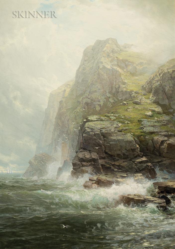 William Trost Richards (American, 1833-1905)      Cliffs of Cornwall