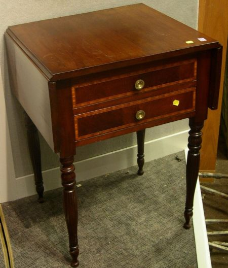 Federal Cherry and Inlay Mahogany Veneer Drop-leaf Two-Drawer Work Table.