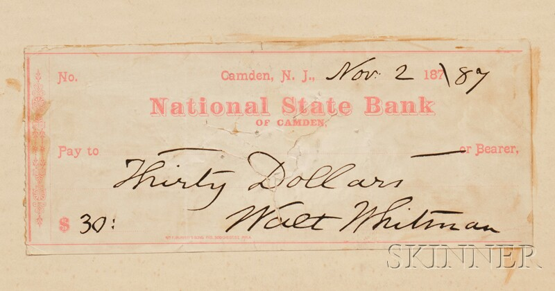 Whitman, Walt (1819-1892), Leaves of Grass, Philadelphia: David McKay, 1919, with autograph signed check laid onto front pastedown, ...