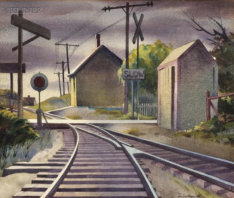 Sandor Bernath (Hungarian/American, 1892-1984)      Standing on the Railroad Tracks