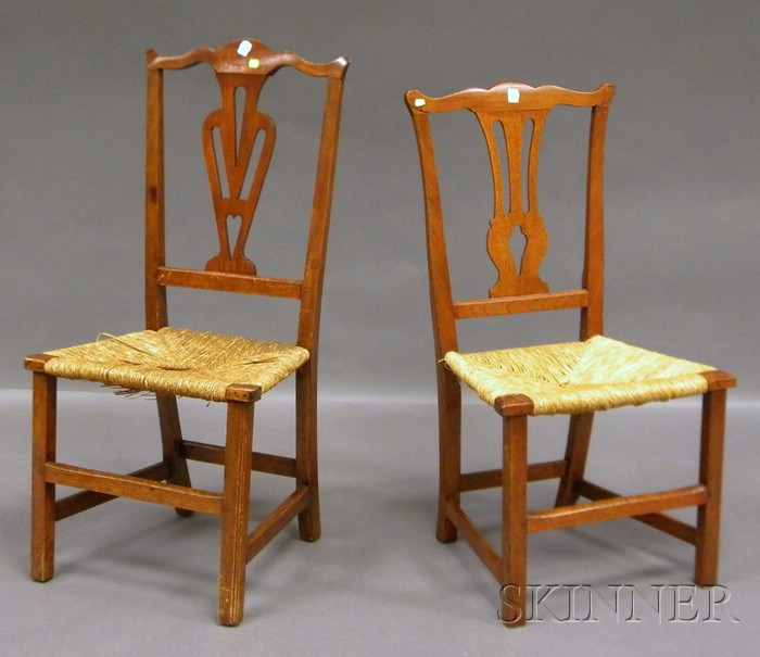 Two Country Chippendale Birch Side Chairs with Woven Rush Seats.