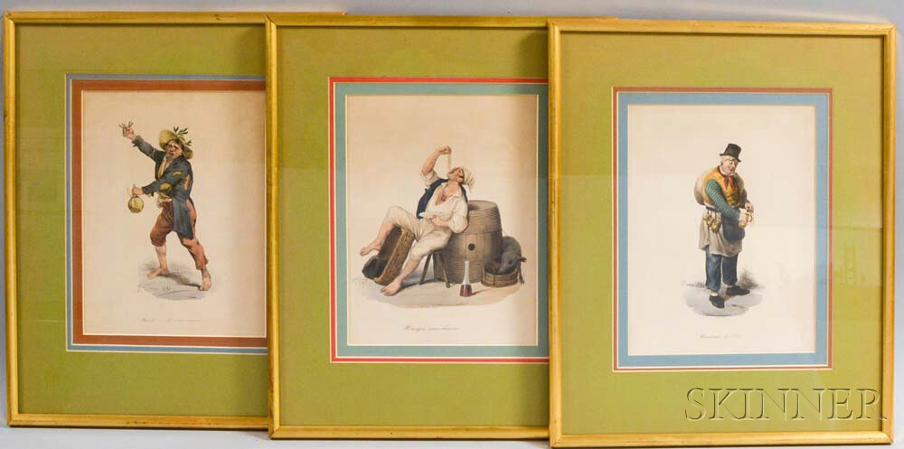 Set of Six Framed Italian Hand-colored Character Portrait Engravings