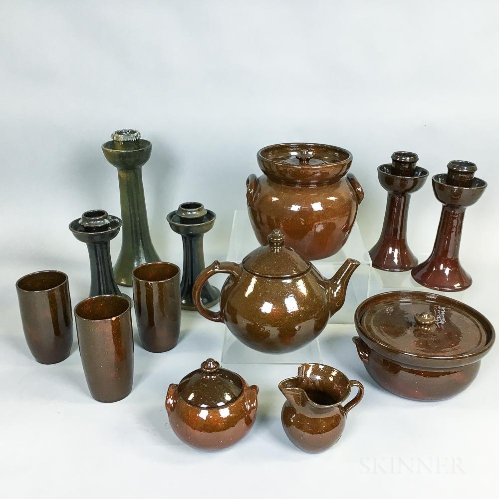 Thirteen Pieces of Ben Owen Pottery Tableware