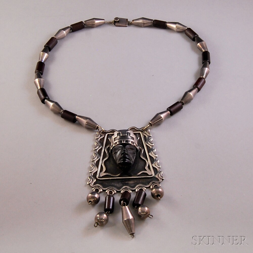 Mexican Sterling Silver and Wood Necklace