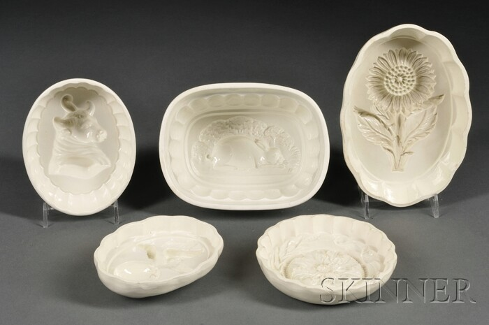 Five Wedgwood Queen's Ware Culinary Molds