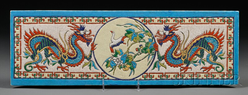 French Chinoiserie Enameled Porcelain Plaque