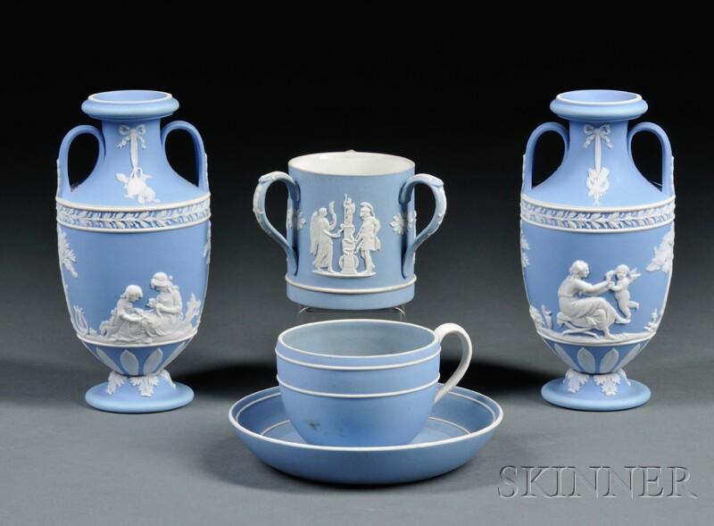 Four Wedgwood Light Blue Jasper Dip Items