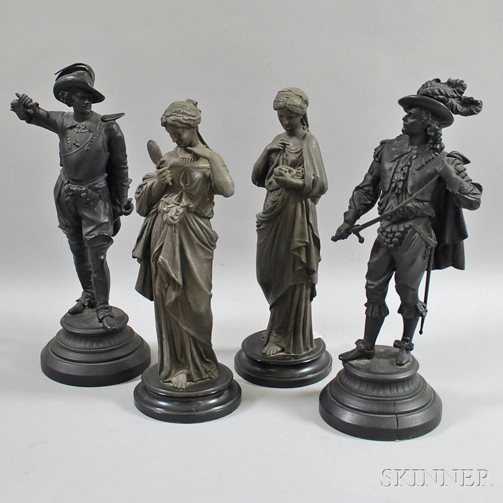 Two Pairs of Spelter Figures