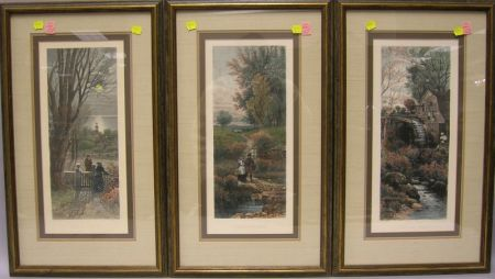 Set of Three Framed Reproduction A.F. Bellows Hand-colored Lithographs