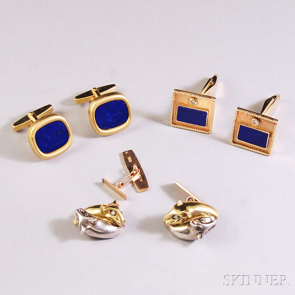 Three Pairs of Gold Cuff Links