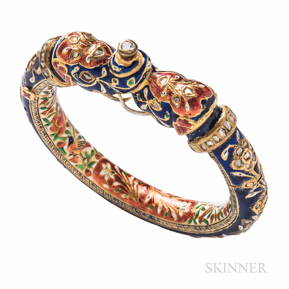 Gold and Enamel Bangle Bracelet