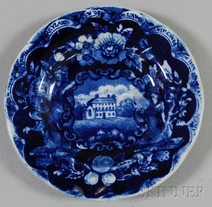 Clews Historical Blue Transfer States Pattern Staffordshire Cup Plate