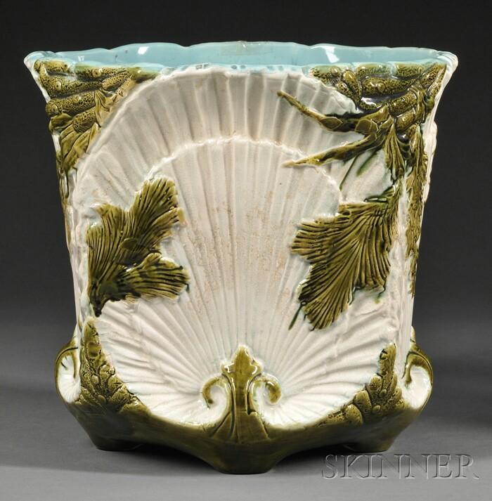 "Wardle ""Shell and Seaweed"" Pattern Albino Majolica Jardiniere"