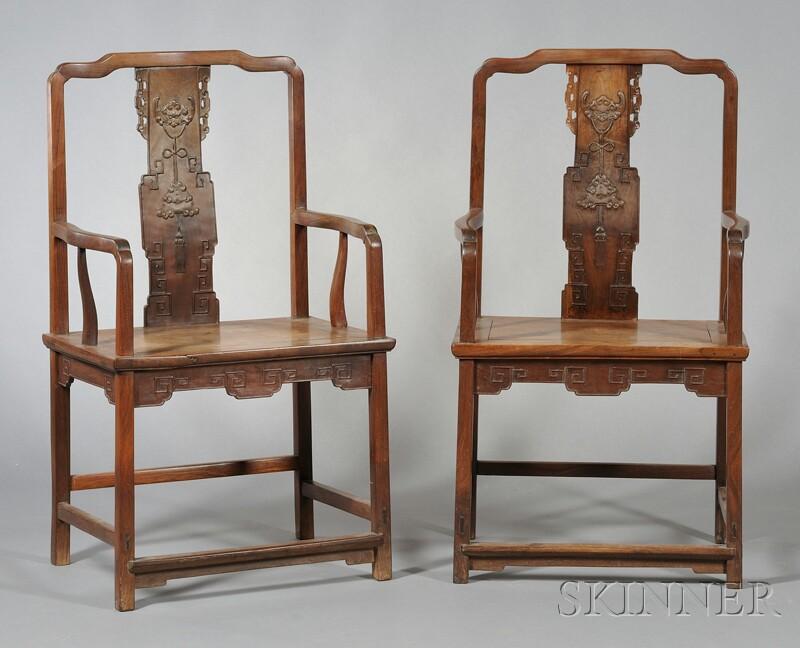 Pair of Hongmu   Armchairs