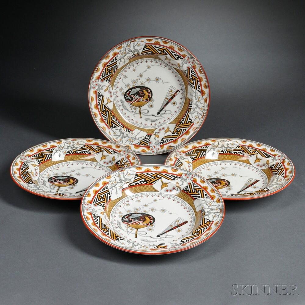 Four Minton Bombay Japanesque Transfer Dining Plates