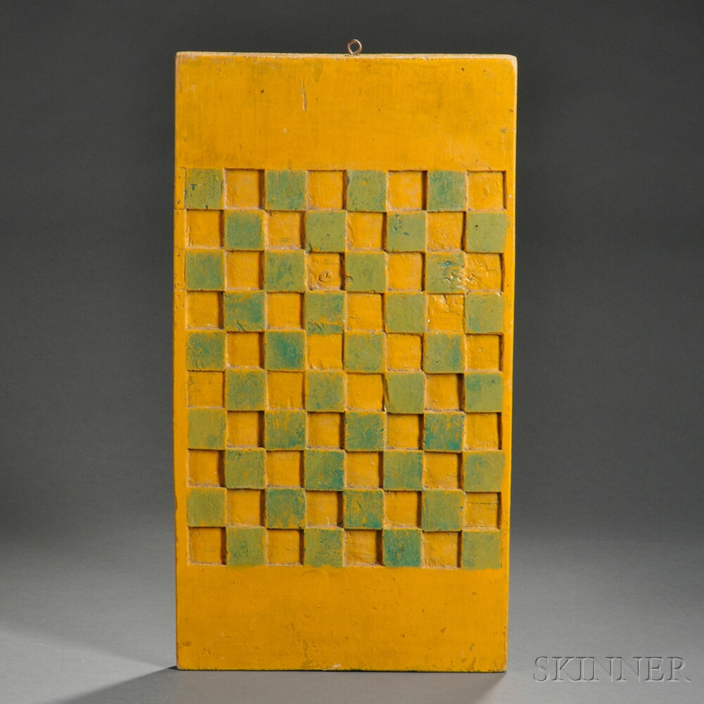 Carved Yellow- and Green-painted Double-sided Checkerboard