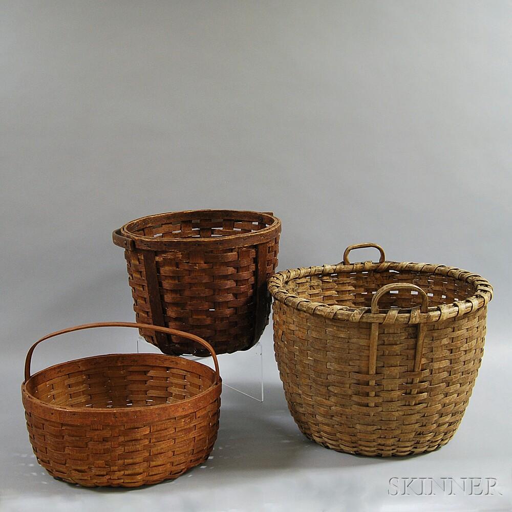 Three Woven Splint Baskets