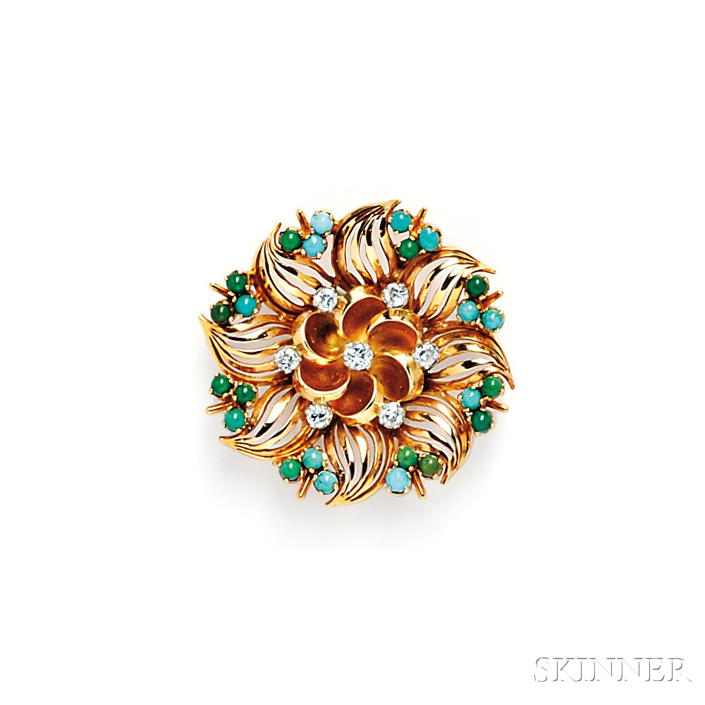 18kt Gold, Turquoise, and Diamond Flower Brooch