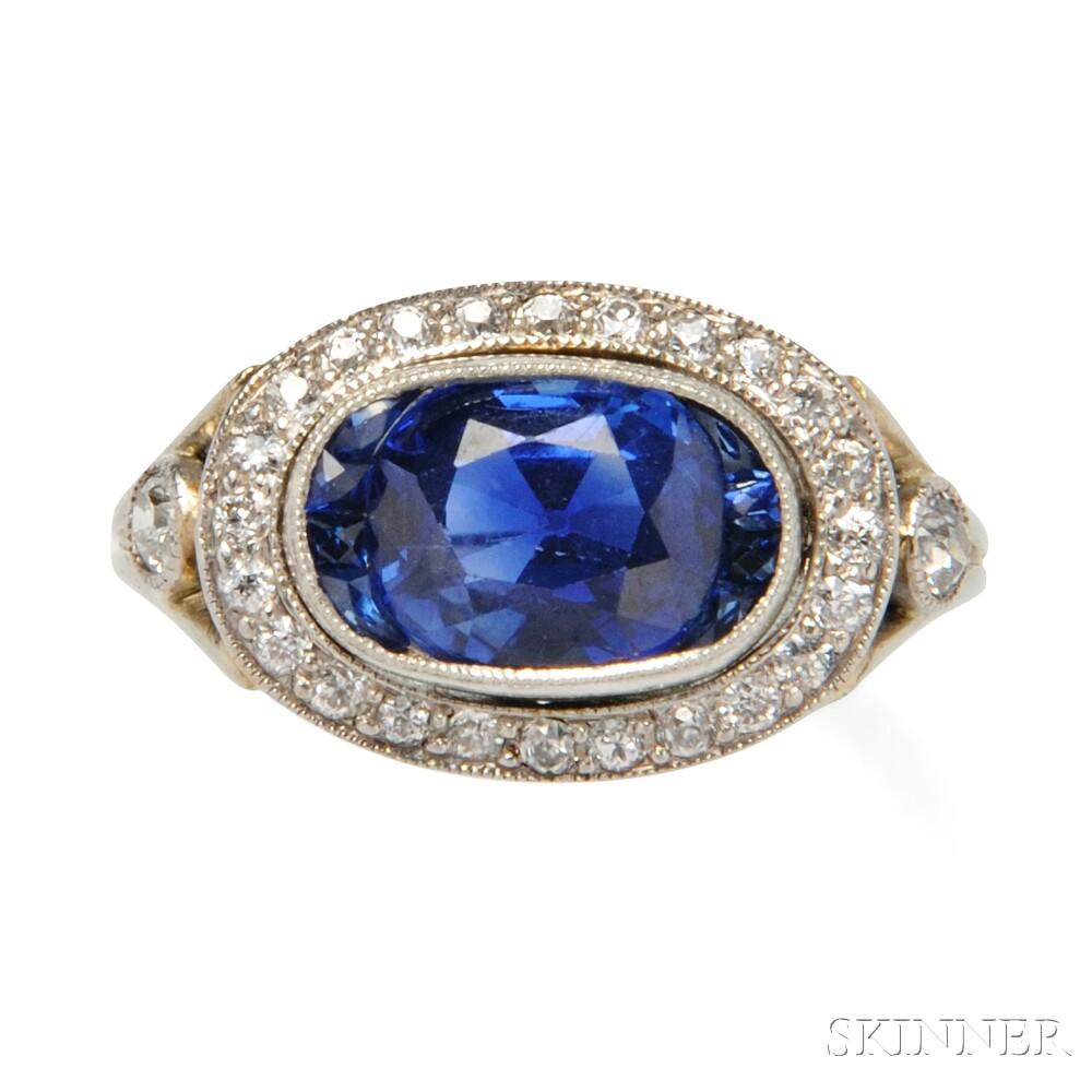 Art Deco Platinum Sapphire And Diamond Ring Sale
