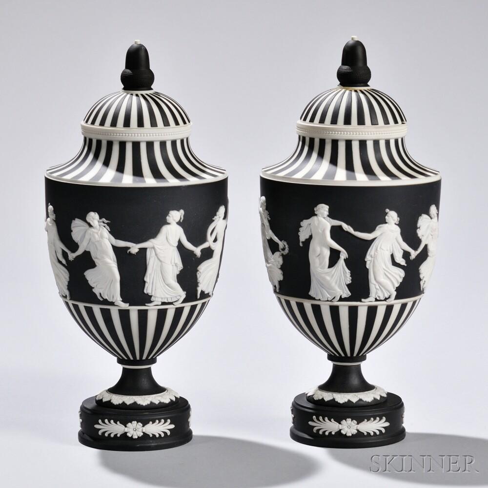Pair of Wedgwood Black Jasper Dip Dancing Hours   Vases and Covers