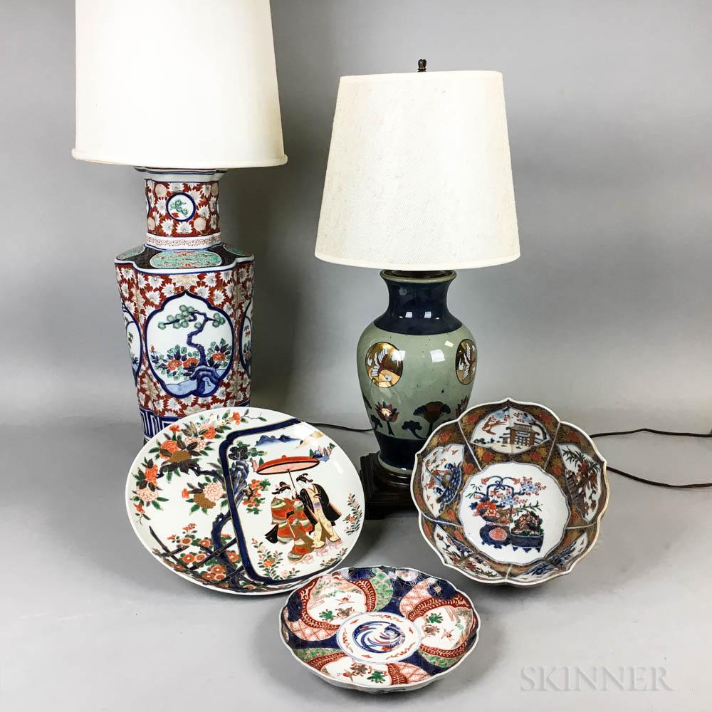 Five Japanese Imari Porcelain Items