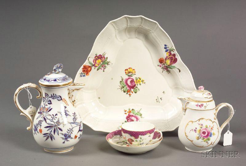Ten Assorted Meissen and Dresden Porcelain Items