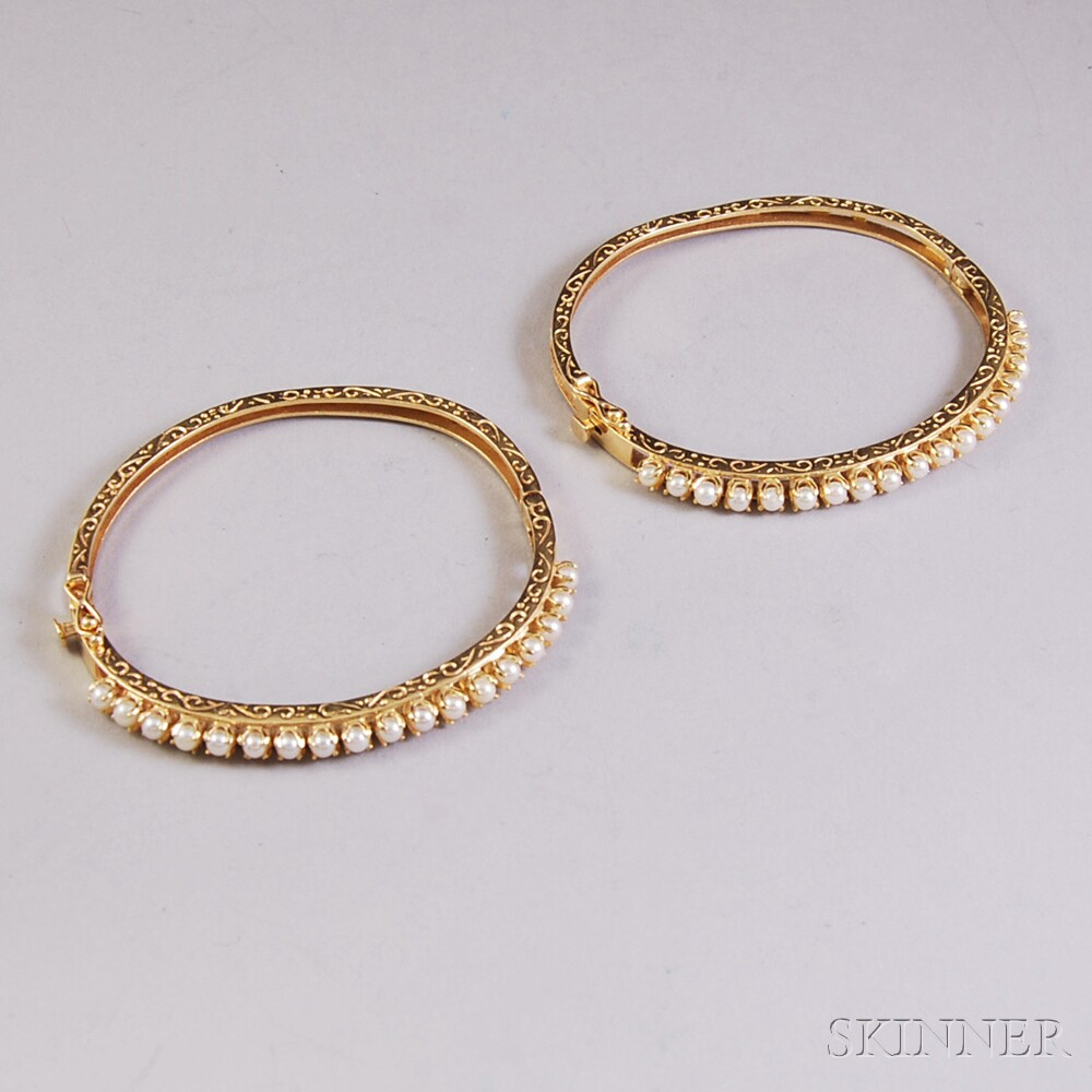 Pair of 14kt Gold and Pearl Hinged Bangle Bracelets