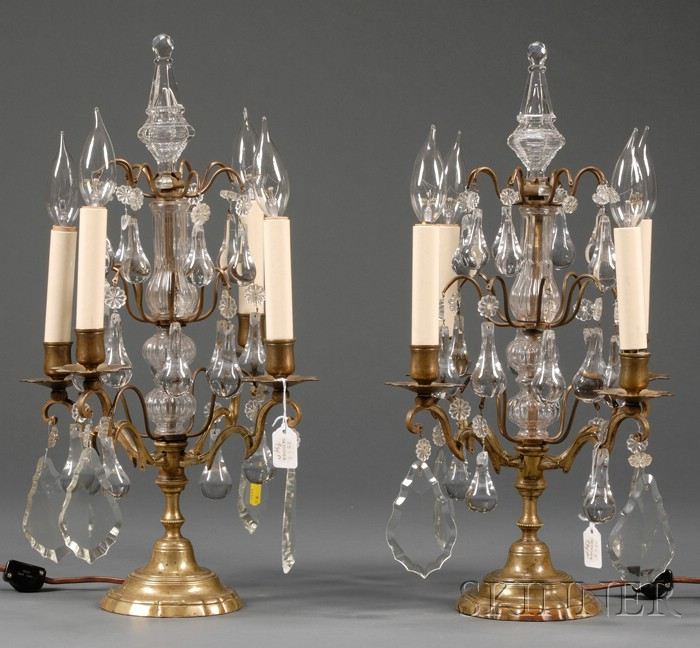 Pair of Baroque-style Four Light Bronze and Colorless Glass Girandoles