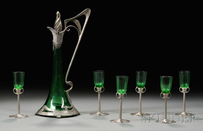 Art Nouveau Decanter and Six Cordials