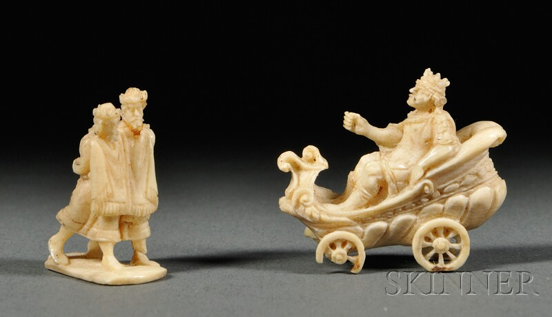 Two Carved Ivory Miniature Figures
