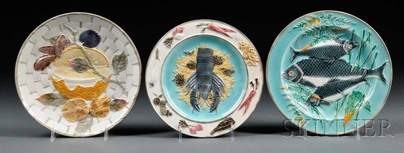 Three Wedgwood Majolica Plates