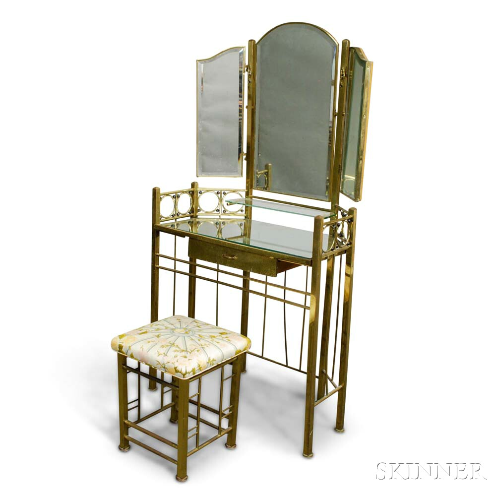 Brass and Glass Dressing Table and Stool