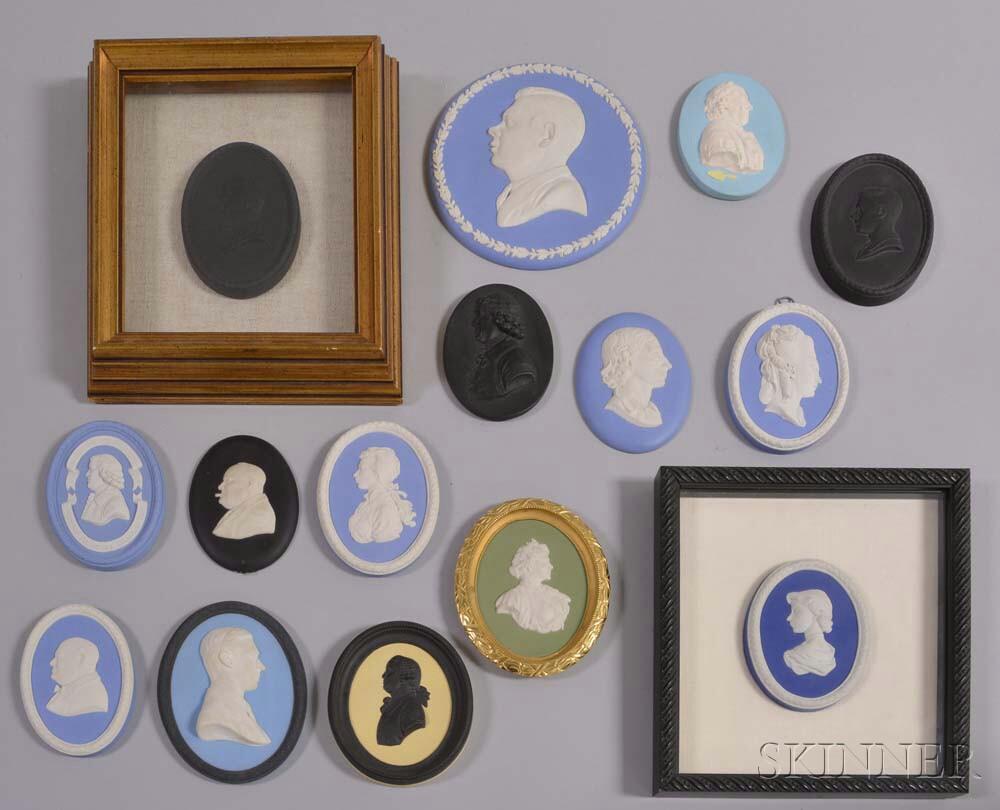 Fifteen Mostly Wedgwood Jasper Portrait Medallions.     Estimate $300-500