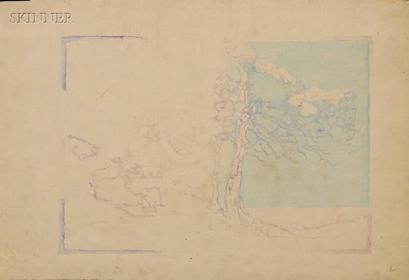 Margaret Jordan Patterson (American, 1867-1950)      Lot of Two Double-sided Wood Blocks for Coast Cedars