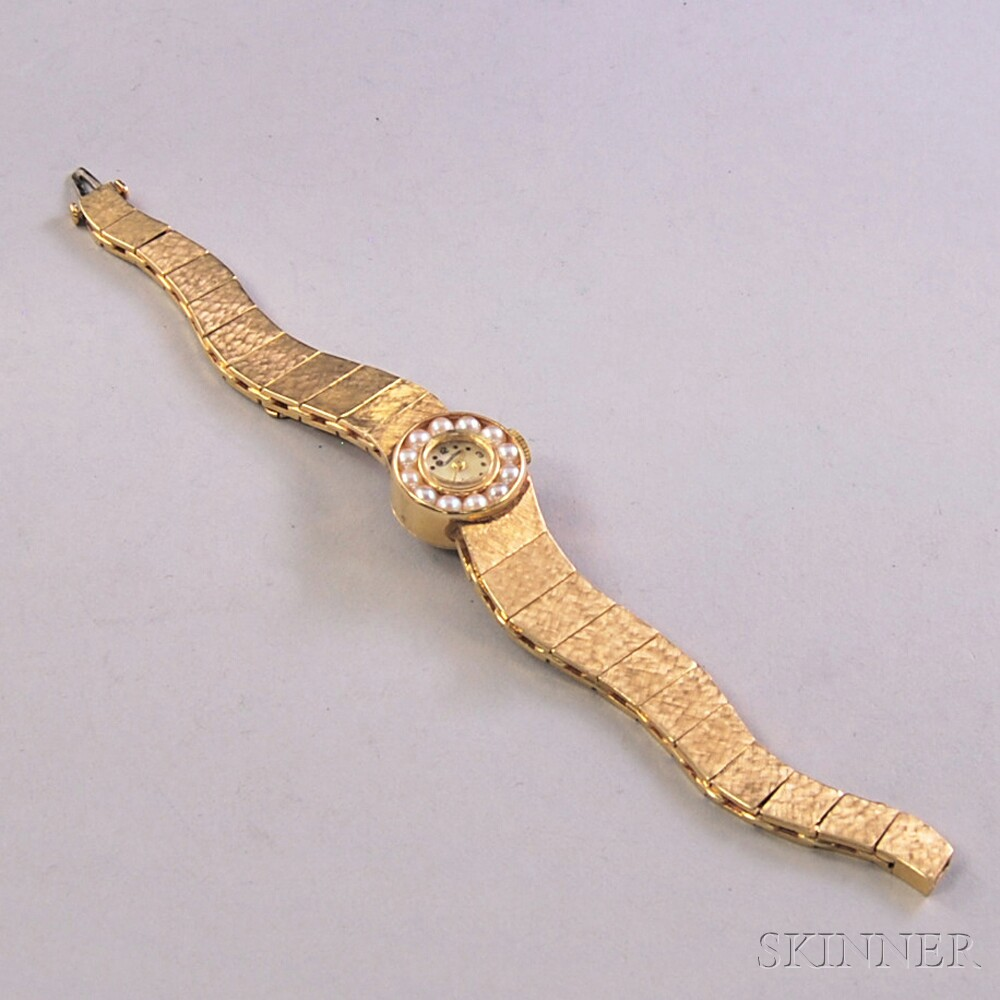 Lady's 14kt Gold and Pearl Lucien Piccard Bracelet Wristwatch