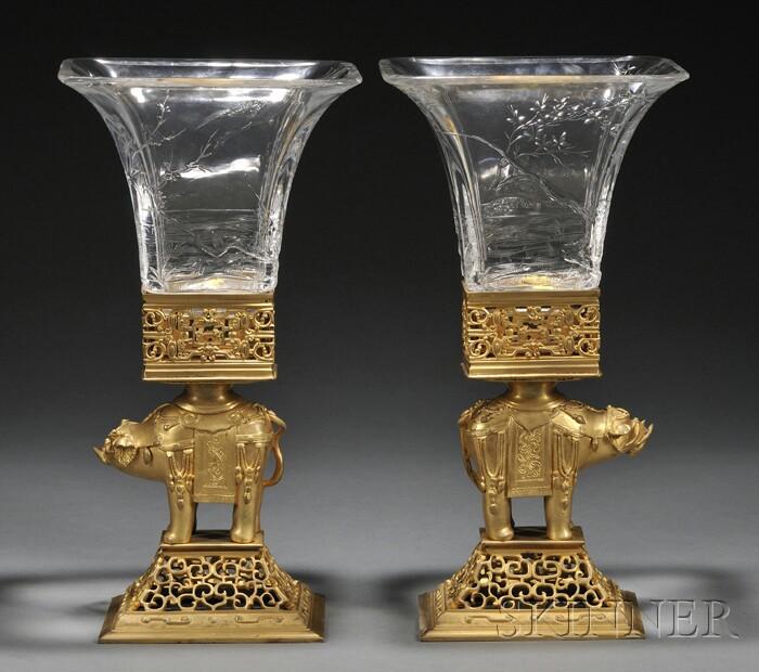 Pair of Escalier de Cristal Gilt-bronze and Cut Glass Vases with Elephants
